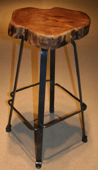 Industrial Bar Stool Forged Metal Natural Mesquite Rustic