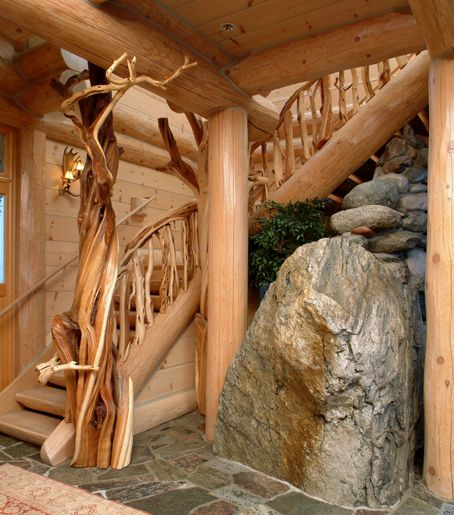 Staircase In Rustic Wood Juniper