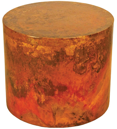 Copper End Table Or Nightstand In Drum Style Woodland Creek Furniture - Copper drum coffee table