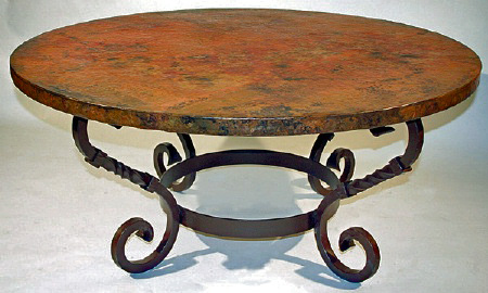 Copper Coffee Table Forged Metal Base Handmade Recycled Copper
