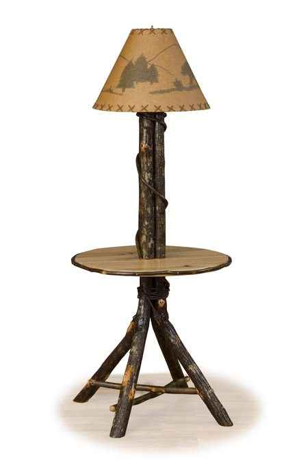 log table with lamp hickory side table rustic furniture - End Tables With Built In Lamp