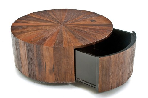 Captivating Round Rustic Chic Coffee Table With Drawer