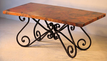Hand Hammered Copper Dining Table With S Design Base Woodland - Hammered copper round dining table