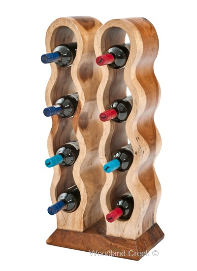 Wood Wine Bottle Holder Unique Counter Wine Rack Free Standing