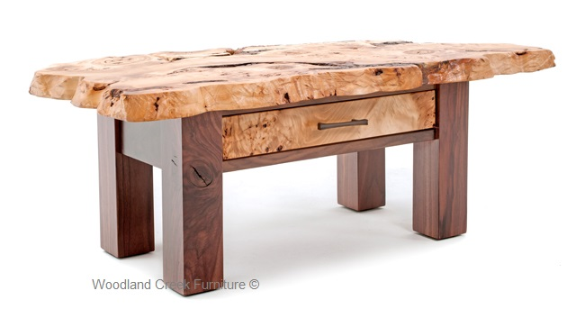 Modern Coffee Table With Burl Wood Top